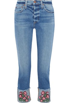 ALICE + OLIVIA Amazing cropped embroidered high-rise slim-leg jeans
