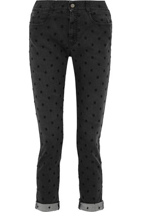 STELLA McCARTNEY Cropped embroidered mid-rise slim-leg jeans