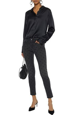 STELLA McCARTNEY Cropped embroidered mid-rise skinny jeans