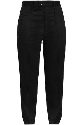MARISSA WEBB Cropped lace-trimmed cotton-blend slim-leg pants