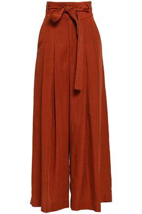 MARISSA WEBB Landyn belted Tencel and linen-blend wide-leg pants