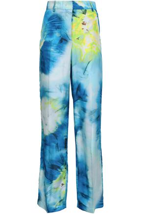 MSGM Printed silk-twill wide-leg pants