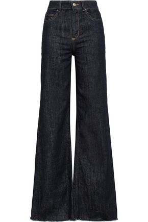 REDValentino Frayed high-rise flared jeans