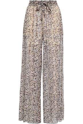 ZIMMERMANN Printed silk-georgette wide-leg pants