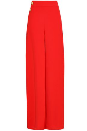 ALICE + OLIVIA JEANS Button-embellished crepe wide-leg pants