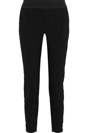 STELLA McCARTNEY Lace-trimmed cotton-blend cady slim-leg pants