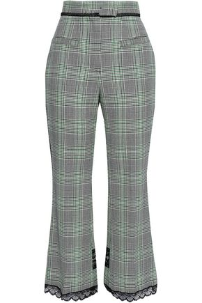 MSGM Lace-trimmed Prince of Wales wool-jacquard flared pants
