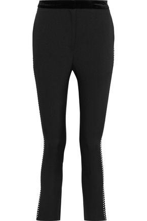 W118 by WALTER BAKER Celia crystal-embellished stretch-twill slim-leg pants