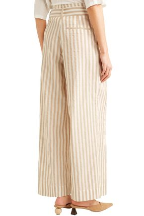 NANUSHKA Nevada striped cotton and linen-blend wide-leg pants