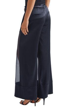 HANEY Lola organza-paneled hammered-satin wide-leg pants