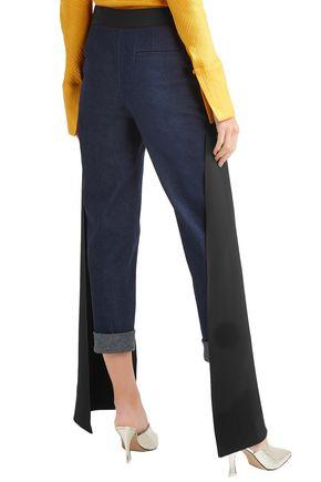 HELLESSY Cropped silk-paneled mid-rise slim-leg jeans