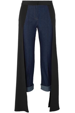 HELLESSY Cropped silk-paneled mid-rise slim-leg jeans