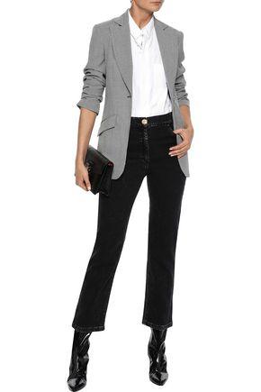 BALMAIN Faded high-rise straight-leg jeans