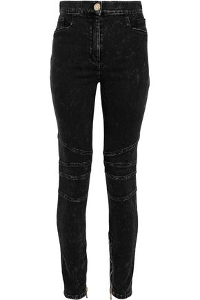 BALMAIN Moto-style faded high-rise skinny jeans