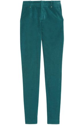 GUCCI Cotton-blend velvet skinny pants
