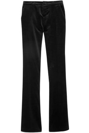 GUCCI Satin-trimmed cotton-blend velvet bootcut pants