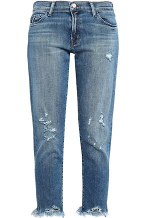 J BRAND Cropped distressed low-rise slim-leg jeans