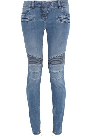 BALMAIN Moto-style faded low-rise skinny jeans