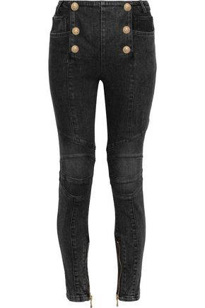 BALMAIN Button-embellished mid-rise skinny jeans