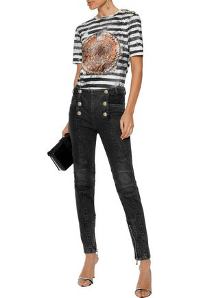 73a348f3 BALMAIN Button-embellished mid-rise skinny jeans