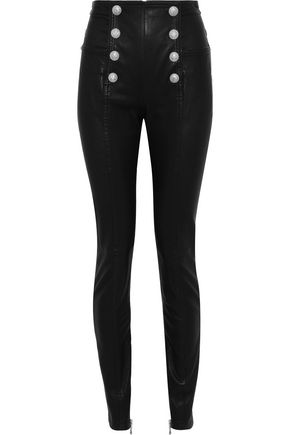 BALMAIN Button-embellished leather skinny pants