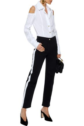 BALMAIN Striped high-rise straight-leg jeans