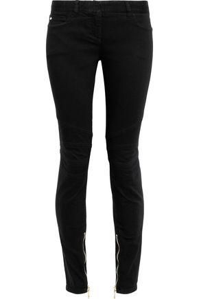 BALMAIN Zip-detailed low-rise skinny jeans