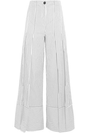 TOME Pleated striped cotton-poplin wide-leg pants