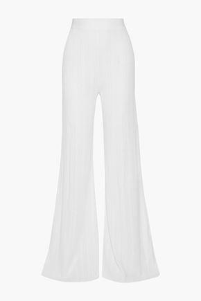 BALMAIN Ribbed-knit wide-leg pants