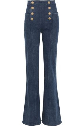 BALMAIN Button-embellished high-rise flared jeans