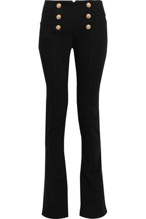 BALMAIN Button-embellished mid-rise flared jeans