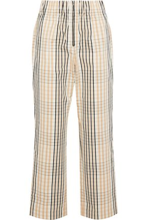 GANNI Cropped checked cotton straight-leg pants