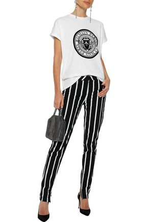 BALMAIN Striped mid-rise skinny jeans