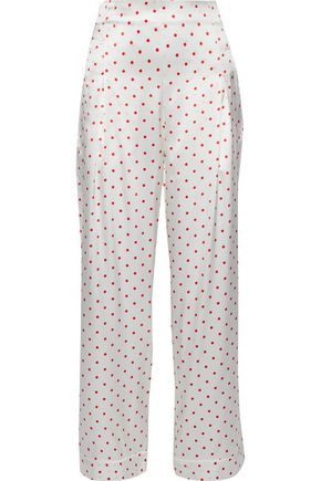 GANNI Polka-dot silk-satin straight-leg pants