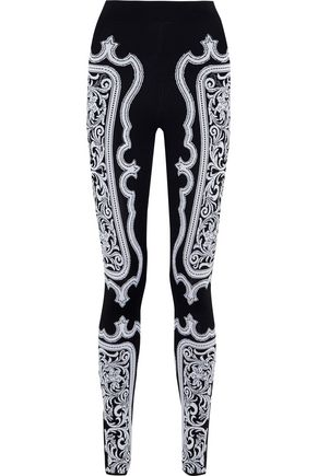 BALMAIN Jacquard-knit leggings