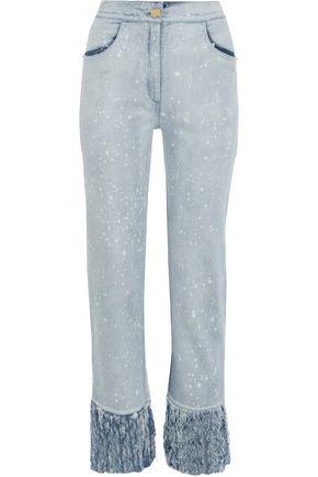 BALMAIN Fringed bleached high-rise straight-leg jeans
