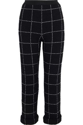 BALMAIN Cropped checked tweed straight-leg pants