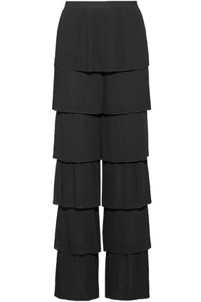 VILSHENKO Tiered georgette wide-leg pants