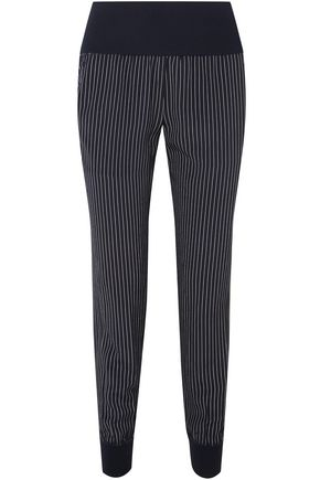 THEORY Ribbed knit-paneled pinstriped silk-crepe track pants