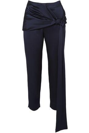 HELLESSY Morten tie-front cropped satin slim-leg pants