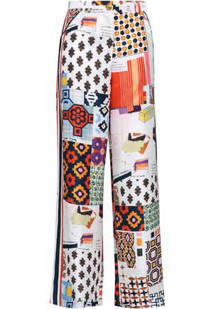 TORY BURCH Printed silk-twill wide-leg pants