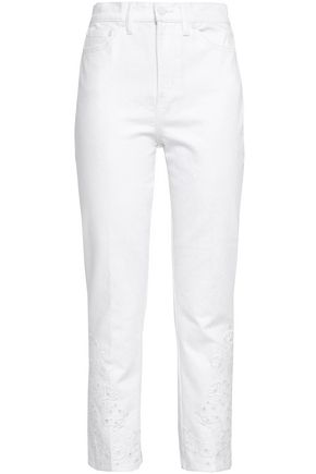 TORY BURCH Embroidered high-rise straight-leg jeans