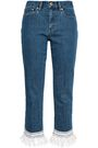 TORY BURCH Crochet-trimmed high-rise straight-leg jeans