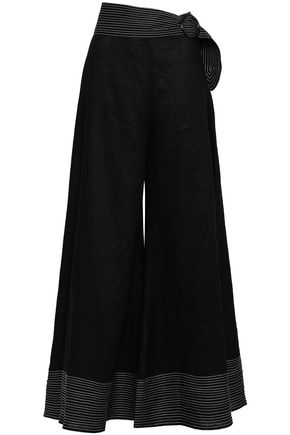 PAPER London Salina belted linen wide-leg pants