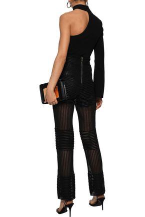 BALMAIN Ribbed open-knit straight-leg pants