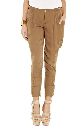 GUCCI Cropped lace-up embellished silk tapered pants