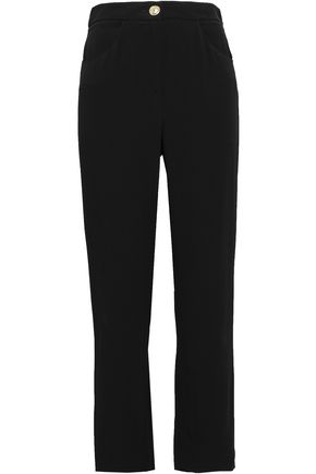 BALMAIN Satin Trimmed cady straight-leg pants