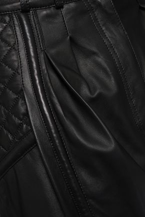 BALMAIN Quilted leather wide-leg pants
