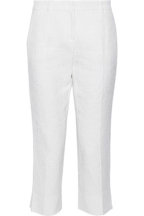 DOLCE & GABBANA Cropped cotton and silk-blend jacquard slim-leg pants