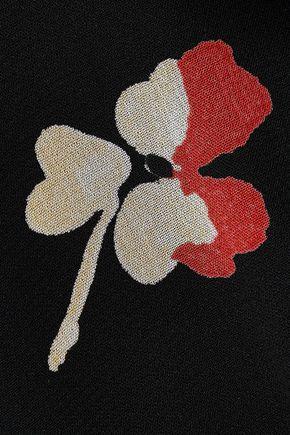 GANNI Lorita floral-print georgette wide-leg pants